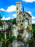 Beautiful casles of Europe - impressive Lichtenstein castle over Royalty Free Stock Photos