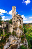 Beautiful casles of Europe - impressive Lichtenstein castle over Royalty Free Stock Photo