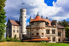 Beautiful casles of Europe - impressive Lichtenstein. Germany Stock Photo