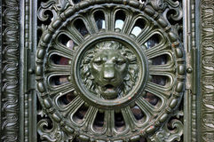 Beautiful cast iron lion head design Stock Images