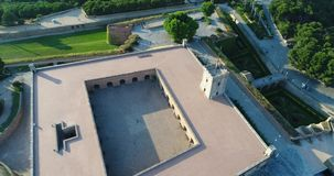 A beautiful Castle. A beautiful aerial view of a an old castle in Barcelona Spain stock footage