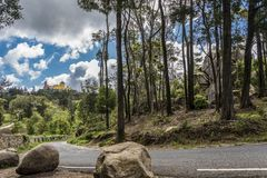 Park of the National Palace of Pena to Sintra royalty free stock photography