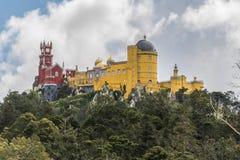 View of the Palácio Nacional da Pena in Sintra. The beautiful castle de la Pena in the park of Sintra stock photography