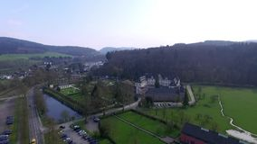 Beautiful castle in Germany. Aerial view stock video footage