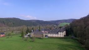 Beautiful castle in Germany. Aerial view stock footage