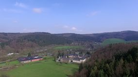 Beautiful castle in Germany. Aerial view stock video