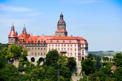 Beautiful castle on a hill. Beautiful castle Zamek Ksiaz on a hill near of town Walbrzych at the Poland royalty free stock photo
