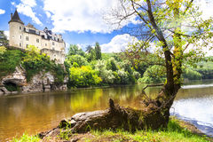 Beautiful castle on lake, France Royalty Free Stock Images