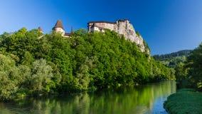 Beautiful castle Oravsky Podzamok near Dolny Kubin in Slovakia. Views of a beautiful castle Oravsky Podzamok in the morning near Dolny Kubin in Slovakia in stock photography
