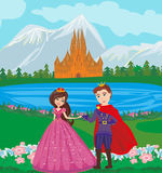 Beautiful castle and princess with prince. Vector Illustration Stock Photos