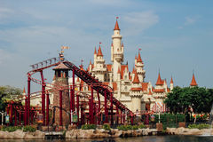 Beautiful castle and roller coaster in Universal Studios. Stock Images