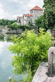 Beautiful castle in Tata, Hungary, fortress, lake and greenery Stock Photography