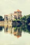 Beautiful castle in Tata, Hungary, retro photo filter Stock Photography