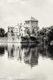 Beautiful castle in Tata, Hungary, travel destination, black and Stock Photo