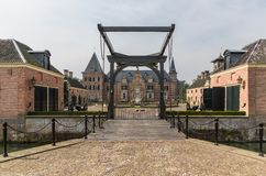 Beautiful castle 'Twickel' with drawbridge near Delden in the Netherlands Royalty Free Stock Images