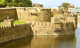 Beautiful castle wall and battlements with trench. Fort battlements and wall with trench at Vellore fort is a 16th-century fort situated in the Vellore city, in Royalty Free Stock Images