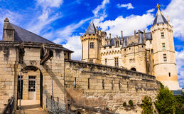 Beautiful castles of Loire valley - impressive medieval Saumur. Stock Photo