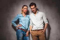 Beautiful casual couple standing together Royalty Free Stock Image