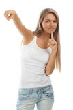 Beautiful casual girl pointing Stock Photo