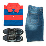 Beautiful casual men fashion set Stock Photos