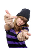 Beautiful Casual Teenager Gives the Finger Royalty Free Stock Photos