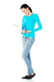 Beautiful casual woman holding  files. Stock Photography