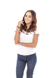 Beautiful casual woman posing and smiling Royalty Free Stock Photography