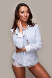 Beautiful casual woman in shirt and panties Royalty Free Stock Photography