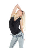 Beautiful casual young blond posing Royalty Free Stock Image