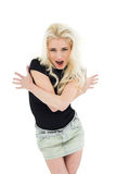 Beautiful casual young blond shouting Stock Image