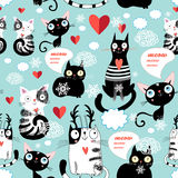 Beautiful cat lover pattern Royalty Free Stock Photo