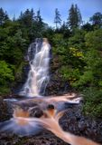 Caramel Waterfall in Newfoundland, Canada. This is beautiful Cataracts Falls on the island province of Newfoundland and Labrador in Canada. This colorful stock images