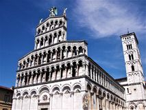 Beautiful cathedral in the city of Lucca, Tuscany royalty free stock photos