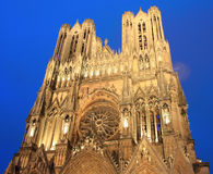 Beautiful cathedral of Reims in the evening Royalty Free Stock Image