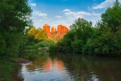 Beautiful Cathedral Rock reflected in water. Oak Creek at Red Rock Crossing, Crescent Moon Picnic, Sedona, Arizona, USA Stock Image