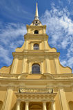 Beautiful cathedral towering high to heaven in Peter and Paul Fortress, Russia. Beautiful cathedral towering high to heaven in Peter and Paul Fortress, Saint Royalty Free Stock Photos