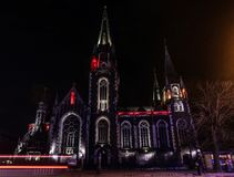 Beautiful Catholic cathedral on background. Church of Sts. Olha and Elizabeth in Lviv, Ukraine royalty free stock image
