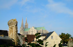Beautiful catholic gothic style cathedral in Chartres Royalty Free Stock Photography