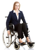 Beautiful caucasain business woman sitting on wheelchair. Stock Images