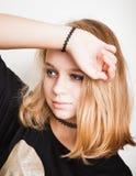 Beautiful Caucasian blond teenage girl. Portrait Royalty Free Stock Photography