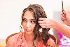 Beautiful caucasian bride getting ready for the wedding ceremony Stock Images
