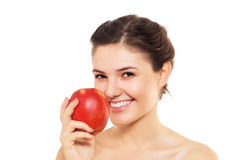 Beautiful  brunette with the red apple Stock Images