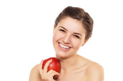 Beautiful  brunette with the red apple Royalty Free Stock Photography