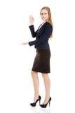Beautiful caucasian business woman advertising. Stock Image