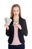 Beautiful caucasian business woman holding dollar curency and mo Royalty Free Stock Photo