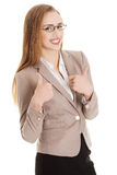 Beautiful caucasian business woman pointing on herself. Stock Photos