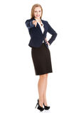 Beautiful caucasian business woman pointing on you. Royalty Free Stock Photography