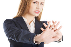 Beautiful Caucasian Business Woman Showing Stop Gesture. Stock Images