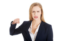Beautiful caucasian business woman wanting to punch. Stock Photography