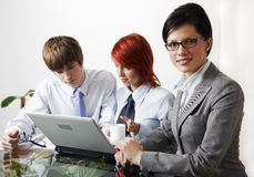 Beautiful caucasian business women with consultant Stock Photos